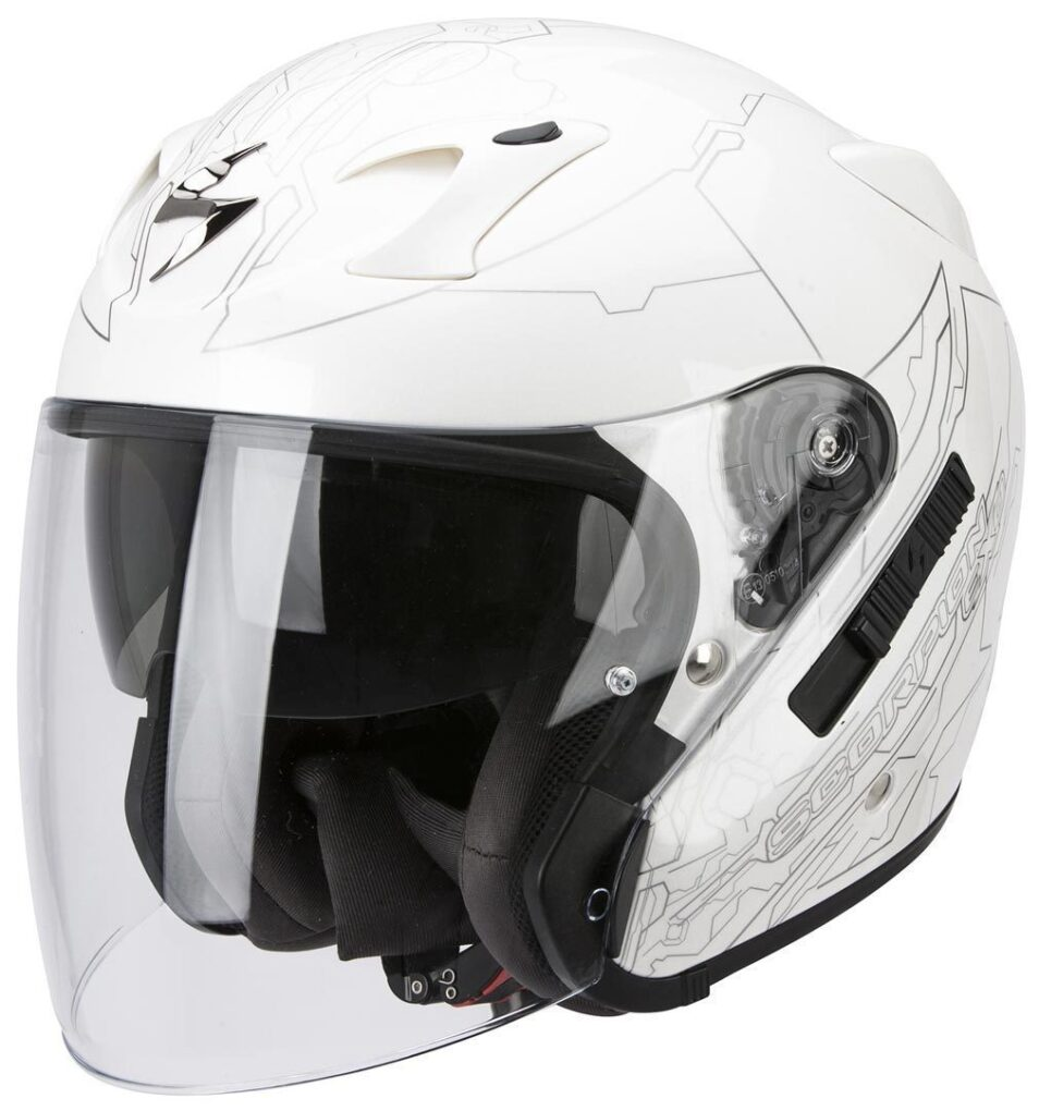 Scorpion Exo 220 Ion Casco Jet Blanco Plata XS